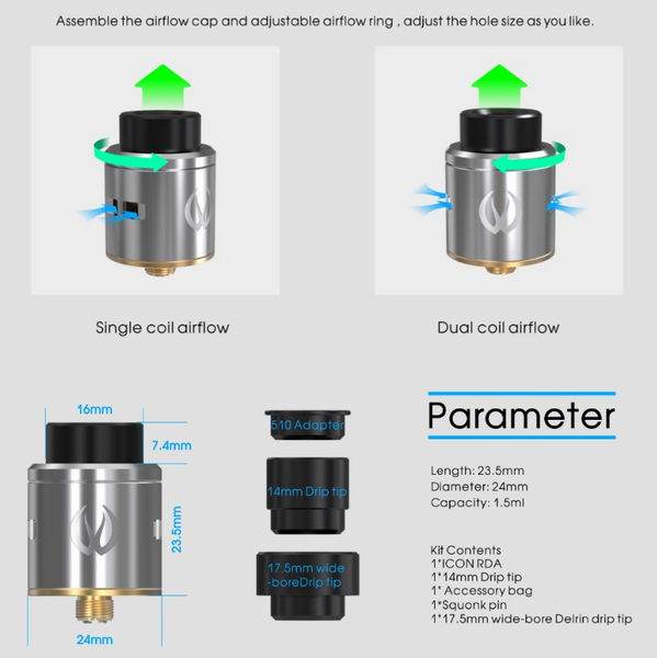 Vandy Vape Icon RDA Parameters