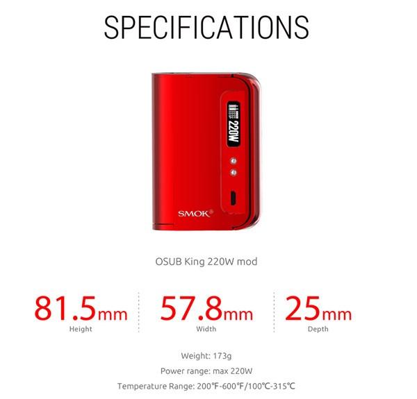 Smok OSUB King Mod 220w Specification