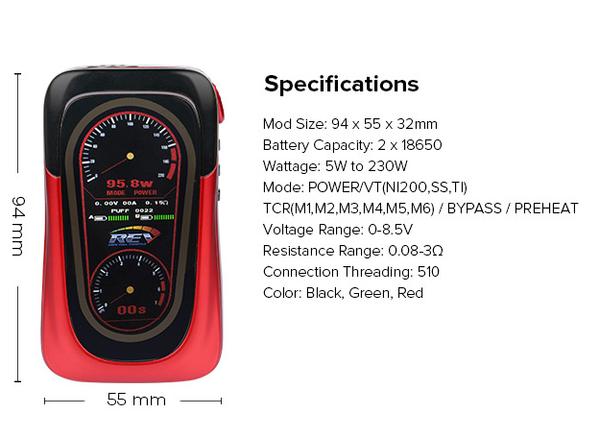 REV GTS 230w Box Mod Specification
