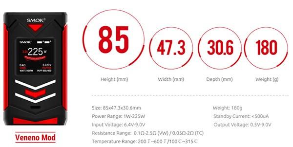 SMOK Veneno 225w Mod Specification