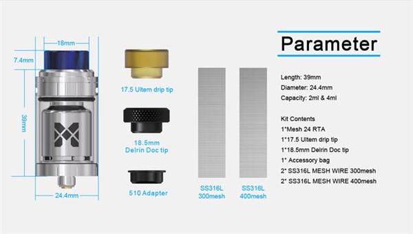 Vandy Vape Mesh 24 RTA Tank Parameters
