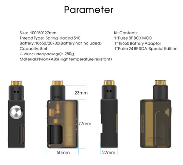 Vandy Vape Pulse BF Squonk Kit parameters