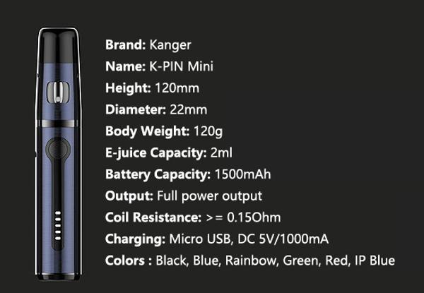 Kanger K Pin Mini Vape Pen Specification
