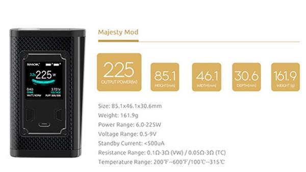 Smok Majesty 225w Carbon Fiber Vape Mod Specification