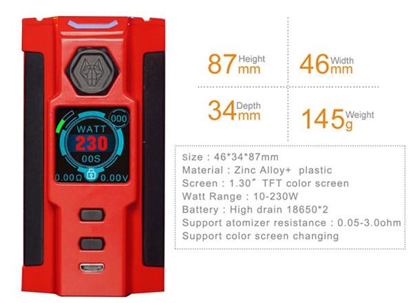 Sigelei Snowwolf Vfeng-S 230W Box Mod Specifications