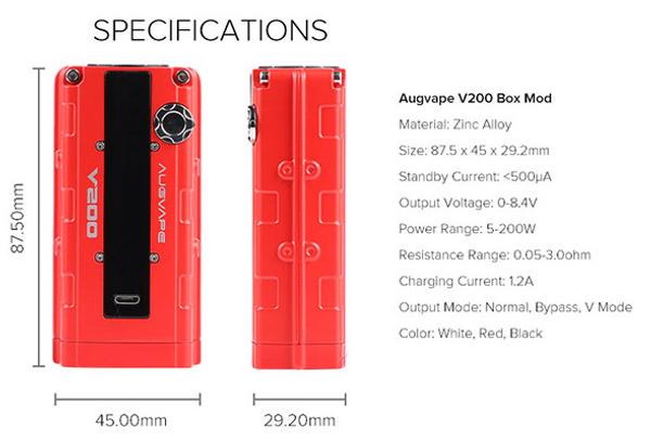 Augvape V200 VW Box Mod Specification