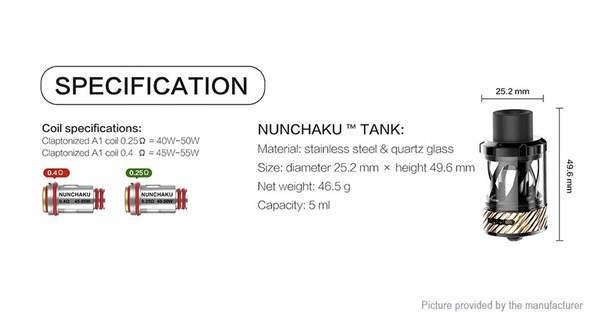 Uwell Nunchaku Tank Specification