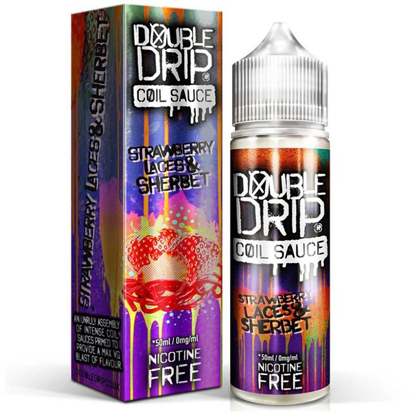 Strawberry Laces & Sherbet E Liquid 50ml by Double Drip Coil Sauce Only £9.99 (INC Free Nic Shots or Zero Nicotine)