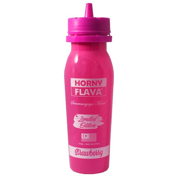 Strawberry E Liquid (120ml Shortfill with 2 x 10ml nicotine shots to make 3mg) by Horny Flava Only £16.99 (Zero Nicotine)