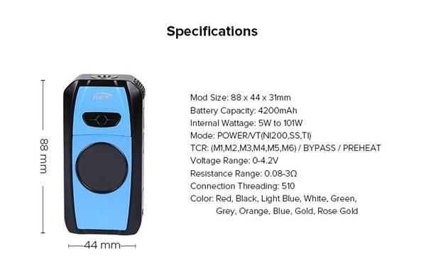 Rev Sport 101w Box Mod Specification