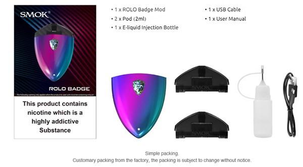 Smok Rolo Badge Pod Vape Kit Box Content