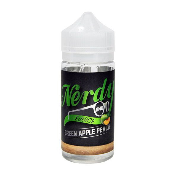 Green Apple Peach E Liquid 80ml Shortfill (100ml Shortfill with 2 x 10ml nicotine shots to make 3mg) By Nerdy