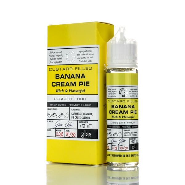 Banana Cream Pie E Liquid 50ml(60ml with 1 x 10ml nicotine shots to make 3mg)  by Glas Basix