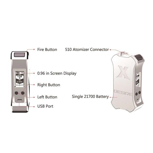 Desire X Mini Mod 108w 21700 Box Mod