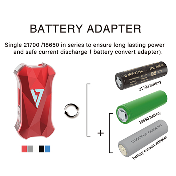 Desire X Mini Mod 108w Box Mod Battery Adapter