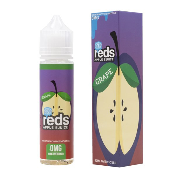 Grape Iced E Liquid 50ml (60ml with 1 x 10ml nicotine shots to make 3mg) Shortfill by Reds E Juice - New Bottle Design
