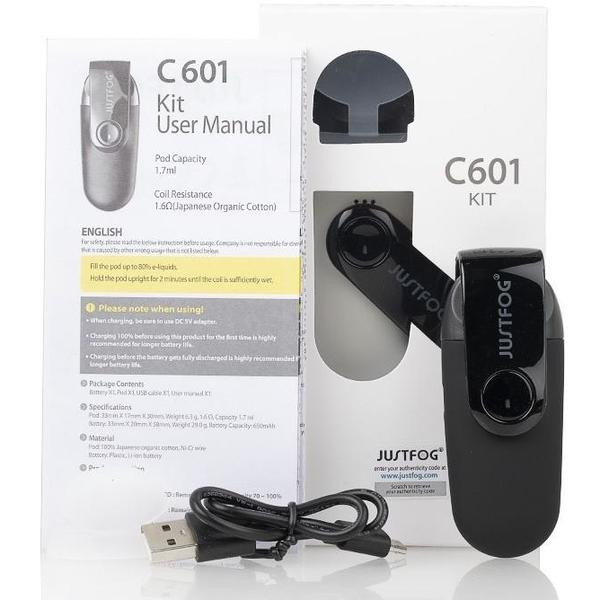 Justfog C601 Pod Vape Kit Box Contents