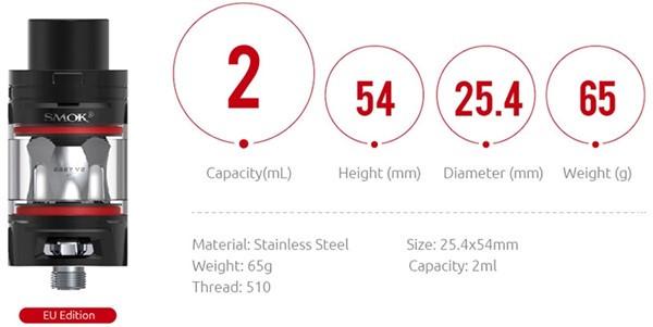 SMOK TFV8 Baby V2 Tank Parameters