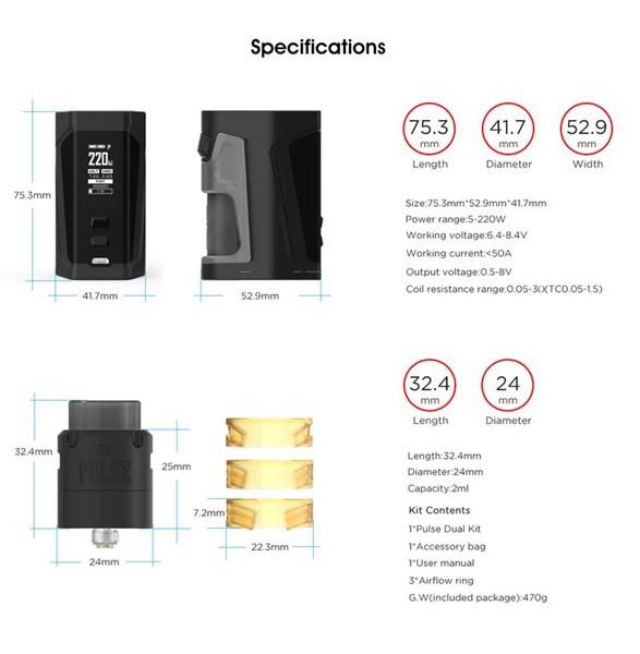 Vandy Vape - Pulse Dual Squonk Kit - Specifications