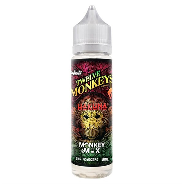 Hakuna E Liquid 50ml By Twelve Monkeys (60ml of e liquid with 1 x 10ml nicotine shots to make 3mg)