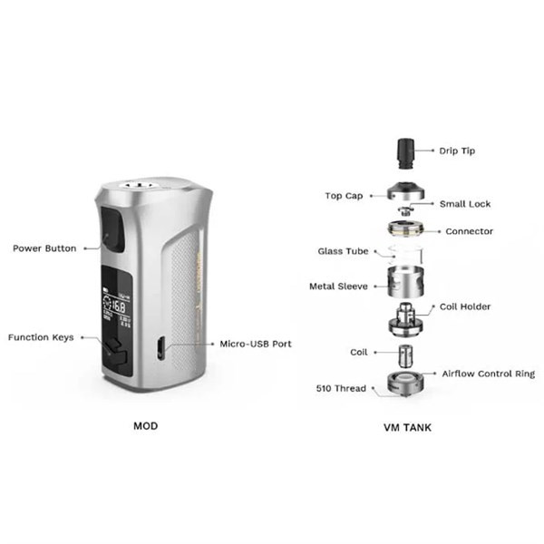 Vaporesso Target Mini 2 Starter Kit - Tank Exploded View And Button Configuration