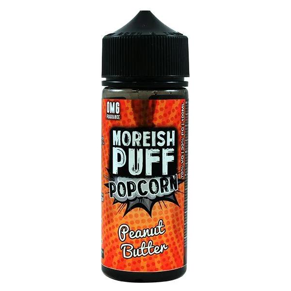 Peanut Butter Popcorn E Liquid 100ml Shortfill 0mg (120ml with 2 x 10ml Nicotine Shots Making Liquid 3mg) By Moreish Puff