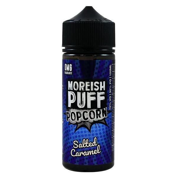 Salted Caramel Popcorn E Liquid 100ml Shortfill 0mg (120ml with 2 x 10ml Nicotine Shots Making Liquid 3mg) By Moreish Puff