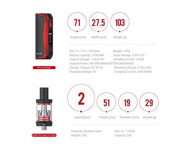 SMOK Priv N19 Starter Kit Specification