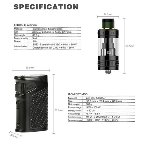Uwell Ironfist Starter Kit Specifications