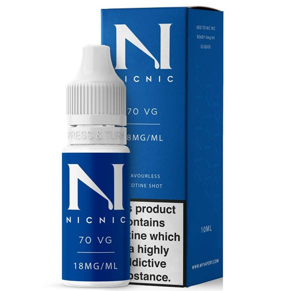 18mg Unflavoured 70VG Nicotine Shot E Liquid 10ml By Nic Nic