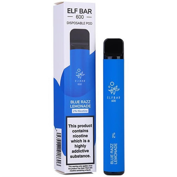 Blue Razz Lemonade Elf Bar 600 Disposable Pod Device By Elf Bar