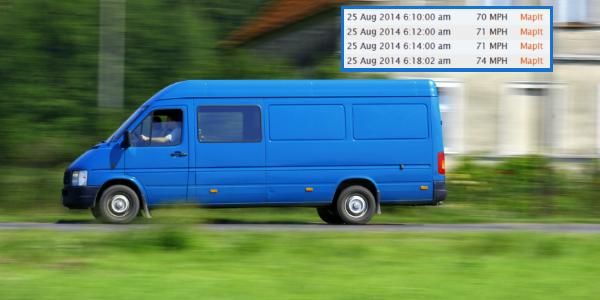 gps tracking monitors van speeding