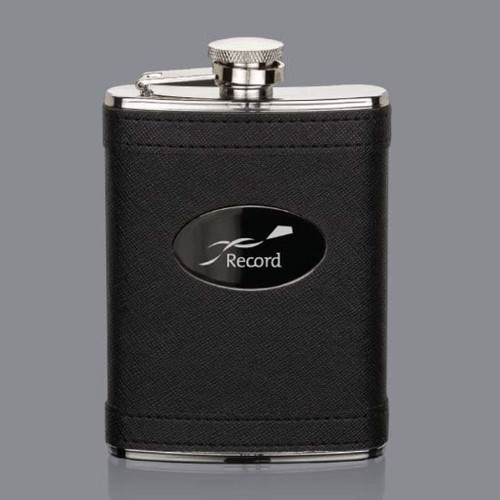 Hodge Hip Flask -  Black/Black Nickel Plate