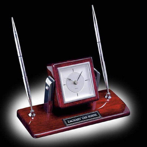 Eggleton Clock/Pen Set - Chrome