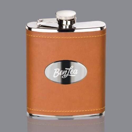 Shelburne Hip Flask -  Brown/Stainless Plate