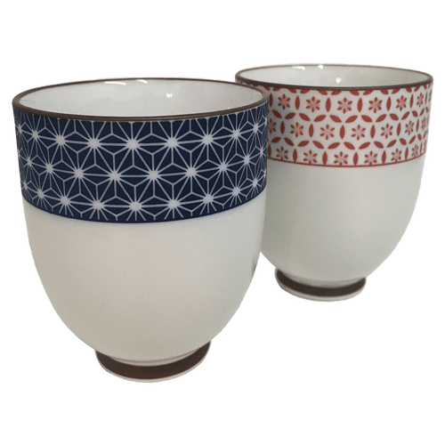 Sashiko Japanese Ceramic Teacups, Set of 4 Cups, 6 oz. each