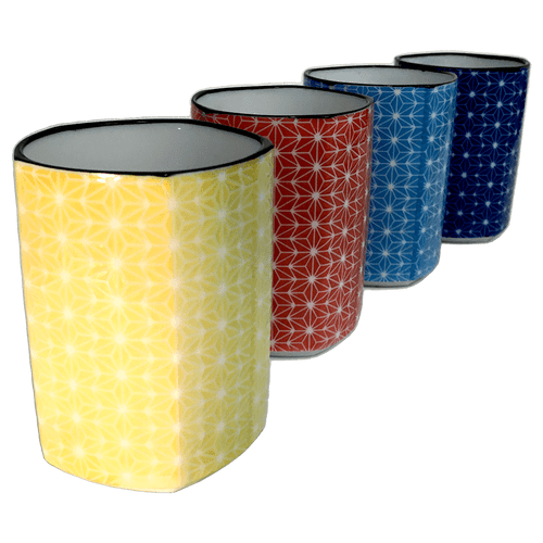 Sashiko Pentagon TeaCup Set of 4 -  5 oz. each