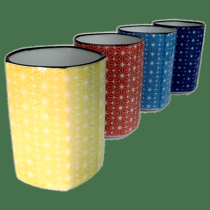 Sashiko Pentagon TeaCup Set of 4 -  5 oz. each