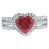 925 Sterling Silver Ruby Heart Cubic Zirconia Ring