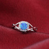 Blue Opal and Cubic Zirconia Ring