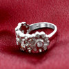 925 Sterling Silver Round Clear Cubic Zirconia Floral Ring