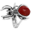 925 Sterling Silver Widow Spider with Coral Gemstone 2mm Ring
