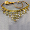 Gold Plated Pearls and Glass Stone Earrings with extra link Chain 16 inch Necklace Set