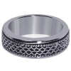 Men's 925 Silver Textural Lines Design 7mm Spinning Band