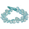 Faceted Aqua Chalcedony Heart Beads