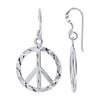 Sterling Silver 1.25 x 0.75 inch Diamond Cut Peace Sign French wire Drop Earrings