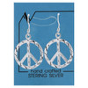 Diamond Cut Peace Sign Drop Earrings