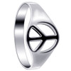 925 Sterling Silver Polished Finish 8mm Peace Sign Ring