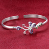 925 Sterling Silver Amethyst and Peridot Gemstone Cuff Bracelet 2.5""