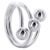 925 Sterling Silver 19mm Front Wire with 6mm Ball accented Ring